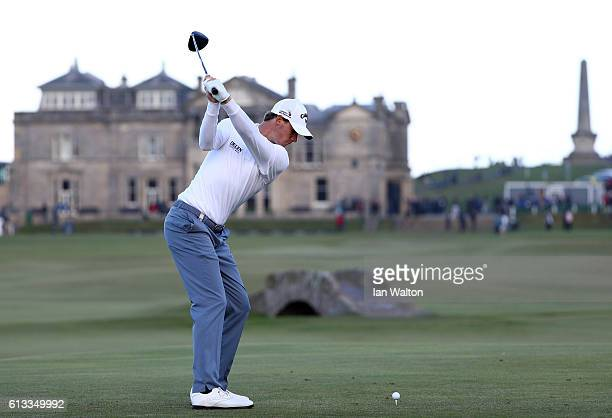 Thomas Pieters of Belgium drives off the 18th tee during the third round of the Alfred Dunhill Links Championship at The Old Course on October 8 2016...