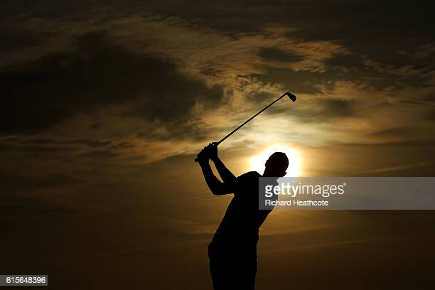 Thomas Pieters of Belgium hits a shot on the driving range after the proam for the Portugal Masters at the Oceanico Victoria Golf Club on October 19...