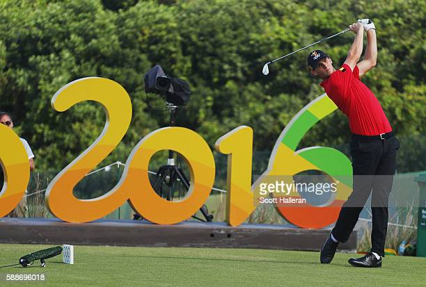 Thomas Pieters of Belgium hits his tee shot on the 16th hole during the second round of the golf on Day 7 of the Rio 2016 Olympic Games at the...