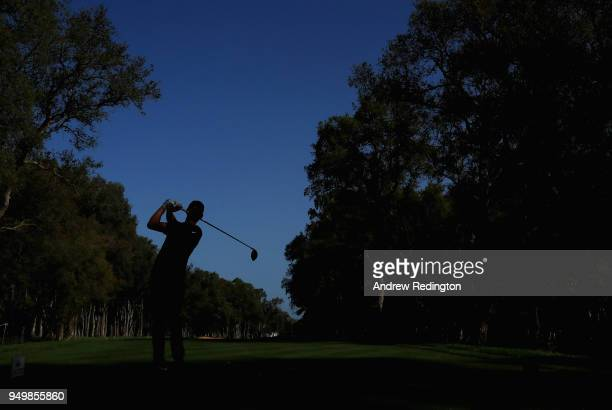 Thomas Pieters of Belgium hits his teeshot on the eighth hole during the final round of the Trophee Hassan II at Royal Golf Dar Es Salam on April 22...