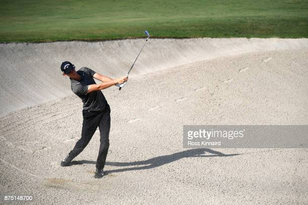Thomas Pieters of Belgium hits his third shot on the 7th hole during the second round of the DP World Tour Championship at Jumeirah Golf Estates on...
