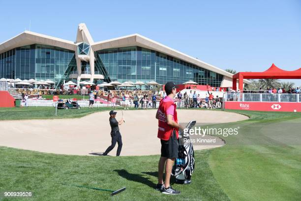 Thomas Pieters of Belgium holes out from the bunker on the ninth hole during round two of the Abu Dhabi HSBC Golf Championship at Abu Dhabi Golf Club...