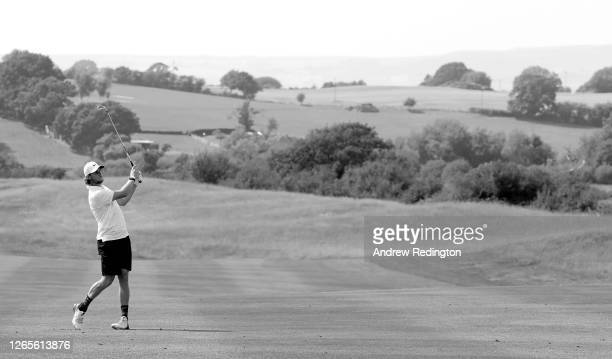 Thomas Pieters of Belgium in action during practice for the Celtic Classic at the Celtic Manor Resort on August 12, 2020 in Newport, Wales.