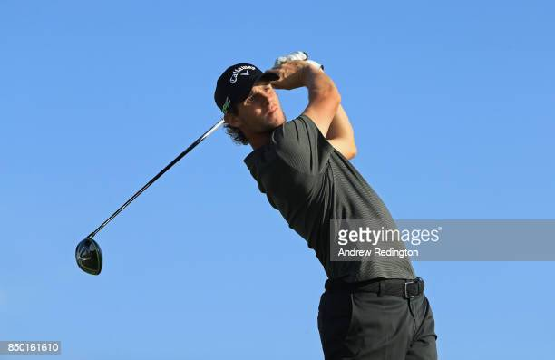 Thomas Pieters of Belgium in action during practice for the Portugal Masters at Dom Pedro Victoria Golf Club on September 20 2017 in Albufeira...
