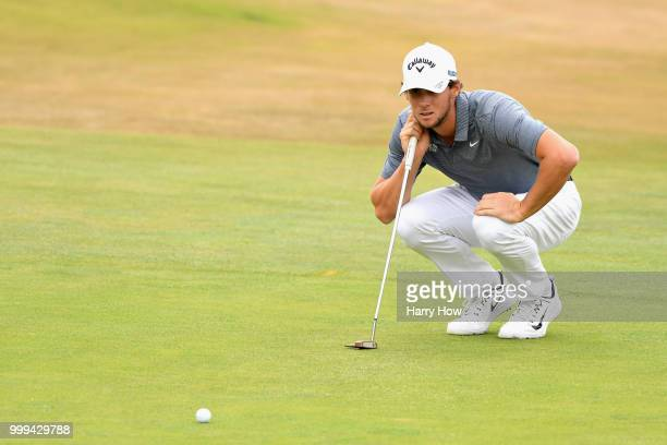 Thomas Pieters of Belgium lines up his putt on hole one during day four of the Aberdeen Standard Investments Scottish Open at Gullane Golf Course on...