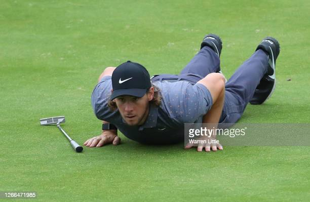 Thomas Pieters of Belgium lines up his putt on the 18th hole during Day three of the Celtic Classic at the Celtic Manor Resort on August 15, 2020 in...