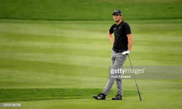 Thomas Pieters of Belgium on the par five 9th hole during the third round of the DD REAL Czech Masters at Albatross Golf Resort on August 25 2018 in...
