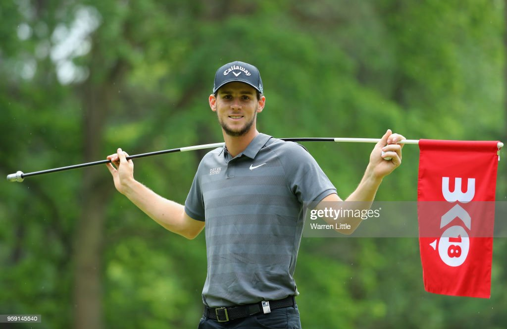 Thomas Pieters of Belgium plays a practice round ahead of the Belgian Knockout at the Rinkven International GC on May 16, 2018 in Antwerpen, Belgium.