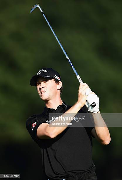 Thomas Pieters of Belgium plays a shot during the first round of the Porsche European Open at Golf Resort Bad Griesbach on September 22 2016 in...
