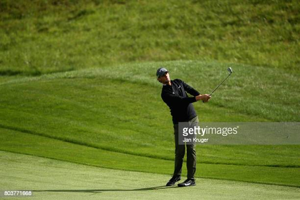 Thomas Pieters of Belgium plays an iron shot during day two of the HNA Open de Feance at Le Golf National on June 30 2017 in Paris France