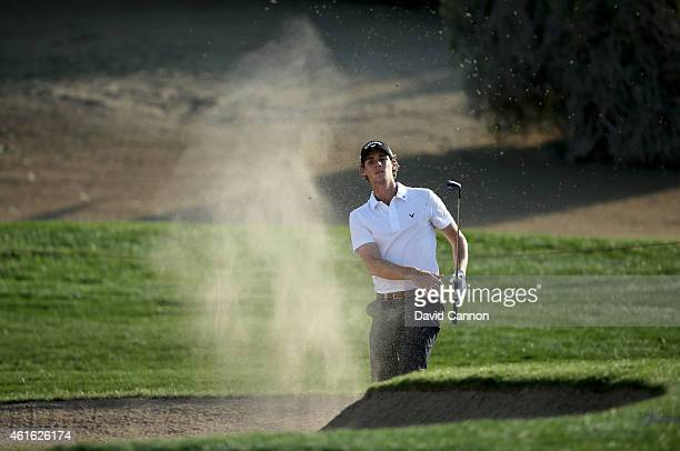 Thomas Pieters of Belgium plays his fourth shot at the par 5, 8th hole during the second round of the Abu Dhabi HSBC Golf Championship at Abu Dhabi...