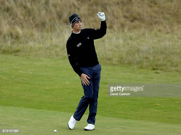 Thomas Pieters of Belgium plays his second shot at the par 4 18th hole during the second round of the Alfred Dunhill Links Championship on the Golf...