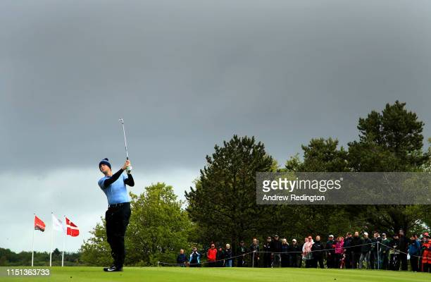 Thomas Pieters of Belgium plays his second shot into the second green during the second round of the Made in Denmark at Himmerland Golf & Spa Resort...