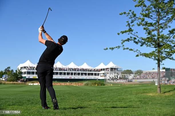 Thomas Pieters of Belgium plays his second shot on the eighteenth during Day Four of the DD Real Czech Masters at Albatross Golf Resort on August 18...