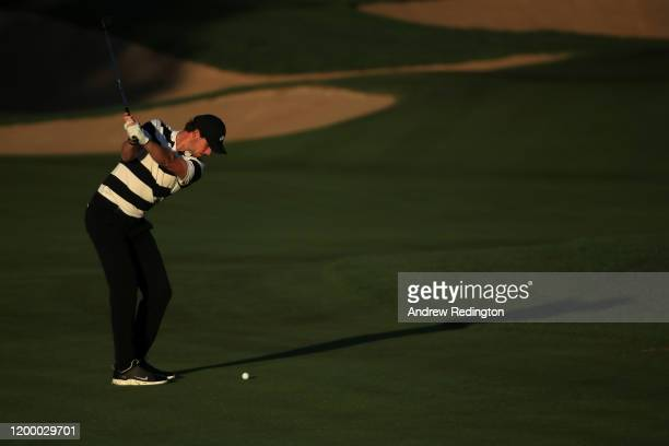 Thomas Pieters of Belgium plays his second shot on the eleventh during Day Two of the Abu Dhabi HSBC Championship at Abu Dhabi Golf Club on January...