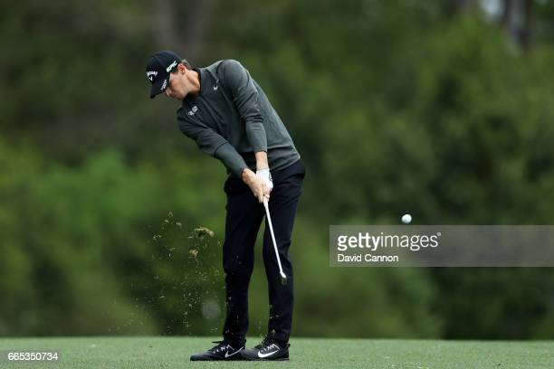 Thomas Pieters of Belgium plays his second shot on the fifth hole during the first round of the 2017 Masters Tournament at Augusta National Golf Club...