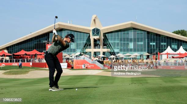 Thomas Pieters of Belgium plays his second shot on the ninth hole during Day Two of the Abu Dhabi HSBC Golf Championship at Abu Dhabi Golf Club on...
