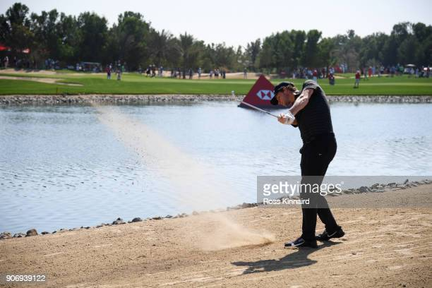 Thomas Pieters of Belgium plays his second shot on the ninth hole during round two of the Abu Dhabi HSBC Golf Championship at Abu Dhabi Golf Club on...