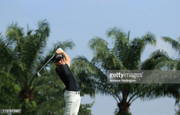 Thomas Pieters of Belgium plays his second shot on the second hole on Day Three of the Maybank Championship at Saujana Golf Country Club Palm Course...
