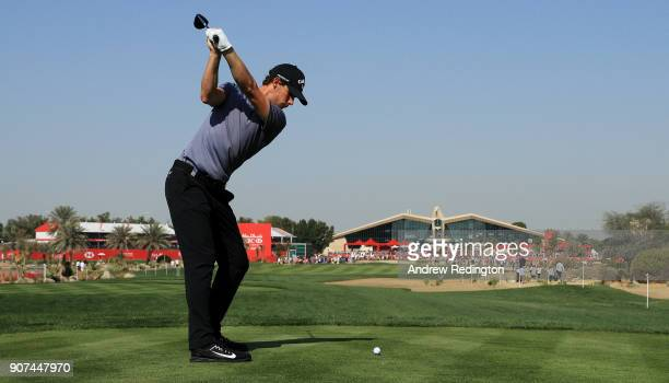 Thomas Pieters of Belgium plays his shot from the ninth tee during round three of the Abu Dhabi HSBC Golf Championship at Abu Dhabi Golf Club on...