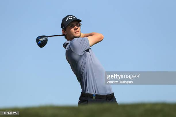 Thomas Pieters of Belgium plays his shot from the third tee during round three of the Abu Dhabi HSBC Golf Championship at Abu Dhabi Golf Club on...