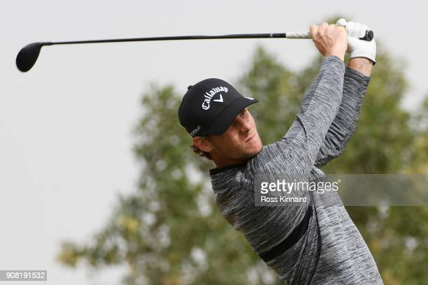 Thomas Pieters of Belgium plays his shot from the third tee during the final round of the Abu Dhabi HSBC Golf Championship at Abu Dhabi Golf Club on...