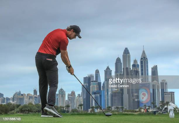 Thomas Pieters of Belgium plays his tee shot on the eighth hole during the second round of the Omega Dubai Desert Classic on the Majlis Course at The...