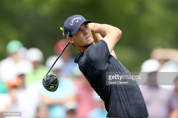 Thomas Pieters of Belgium plays his tee shot on the fourth hole during the final round of the 100th PGA Championship at the Bellerive Country Club on...