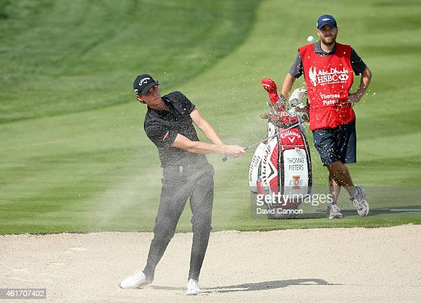 Thomas Pieters of Belgium plays his third shot at the par 5, second hole during the final round of the Abu Dhabi HSBC Golf Championship at Abu Dhabi...