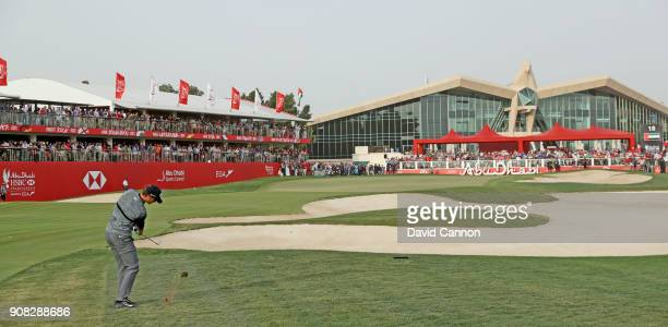 Thomas Pieters of Belgium plays his third shot on the 18th hole during the final round of the Abu Dhabi HSBC Golf Championship at Abu Dhabi Golf Club...