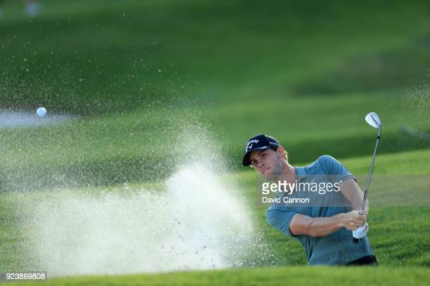 Thomas Pieters of Belgium plays his third shot on the par 5, 18th hole during the third round of the 2018 Honda Classic on The Champions Course at...
