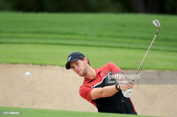 Thomas Pieters of Belgium plays his third shot on the second hole during the second round of the Omega Dubai Desert Classic on the Majlis Course at...