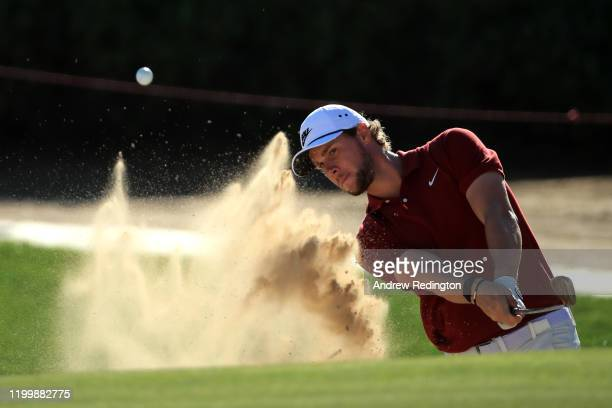 Thomas Pieters of Belgium plays his third shot on the seventeenth during Day One of the Abu Dhabi HSBC Championship at Abu Dhabi Golf Club on January...