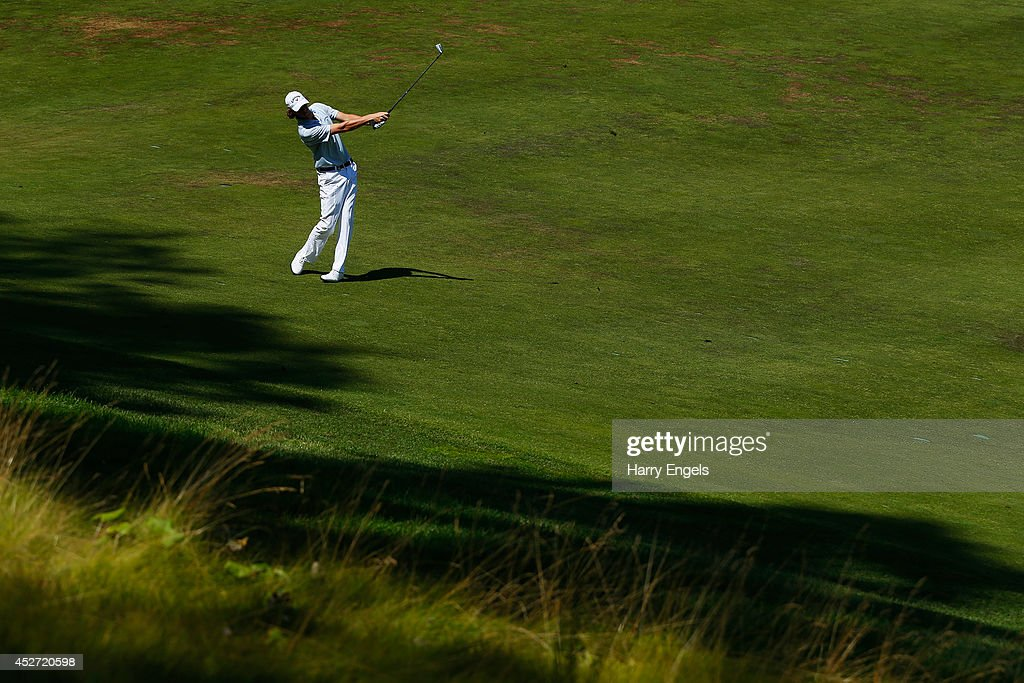 Thomas Pieters of Belgium plays off the fairway at the tenth on day three of the M2M Russian Open at Tseleevo Golf & Polo Club on July 26, 2014 in Moscow, Russia.