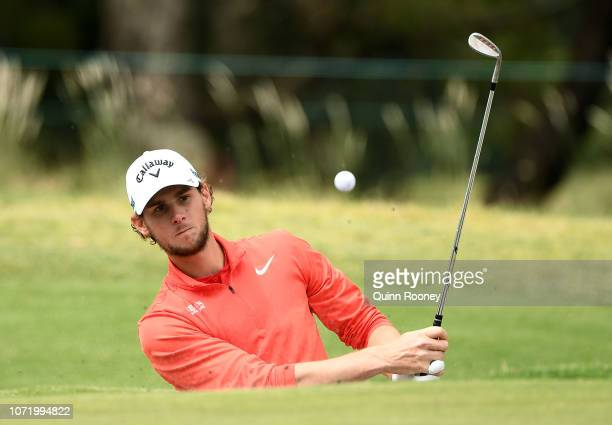 Thomas Pieters of Belgium plays out of the bunker during day four of the 2018 World Cup of Golf at The Metropolitan on November 25, 2018 in...