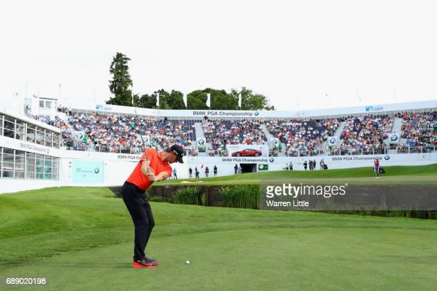 Thomas Pieters of Belgium plays to the 18th green during day three of the BMW PGA Championship at Wentworth on May 27 2017 in Virginia Water England