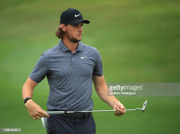 Thomas Pieters of Belgium ponders his putt on the 12th hole during Day three of the Celtic Classic at the Celtic Manor Resort on August 15, 2020 in...