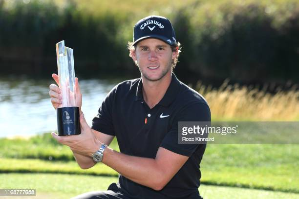 Thomas Pieters of Belgium poses with the trophy after winning the D+D Real Czech Masters during Day Four of the D+D Real Czech Masters at Albatross...