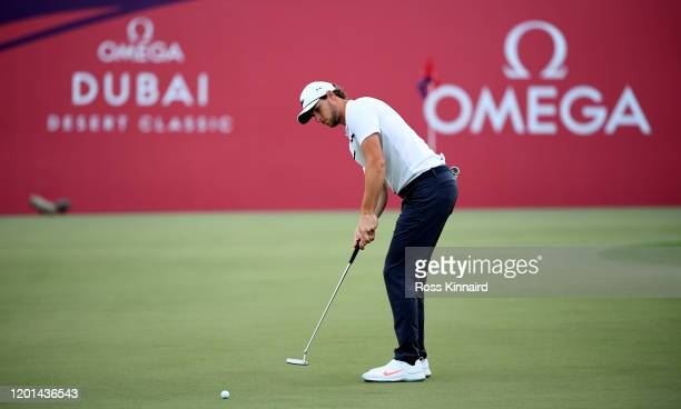 Thomas Pieters of Belgium putting on the 9th green during the first round of the Omega Dubai Desert Classic at Emirates Golf Club on January 23, 2020...