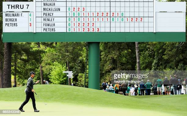 Thomas Pieters of Belgium reacts to his birdie on the eighth green during the first round of the 2017 Masters Tournament at Augusta National Golf...