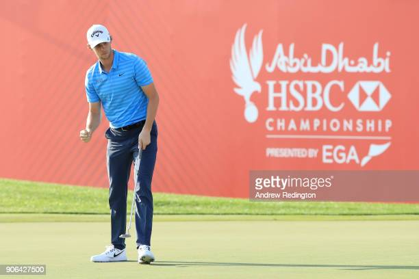 Thomas Pieters of Belgium reacts to his eagle on the 18th hole during round one of the Abu Dhabi HSBC Golf Championship at Abu Dhabi Golf Club on...