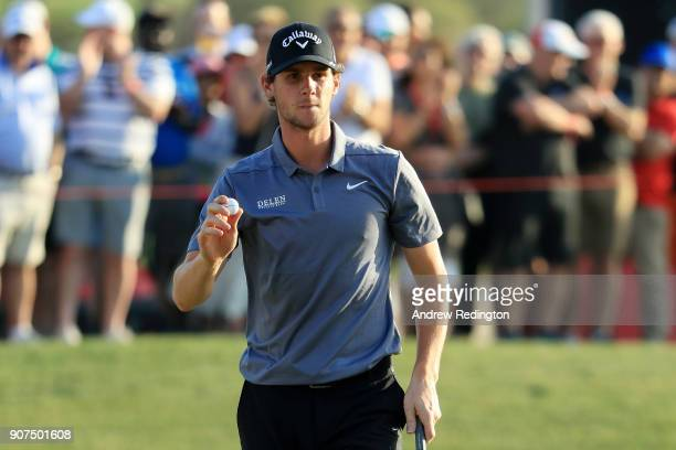 Thomas Pieters of Belgium reacts to his par save on the 18th green during round three of the Abu Dhabi HSBC Golf Championship at Abu Dhabi Golf Club...