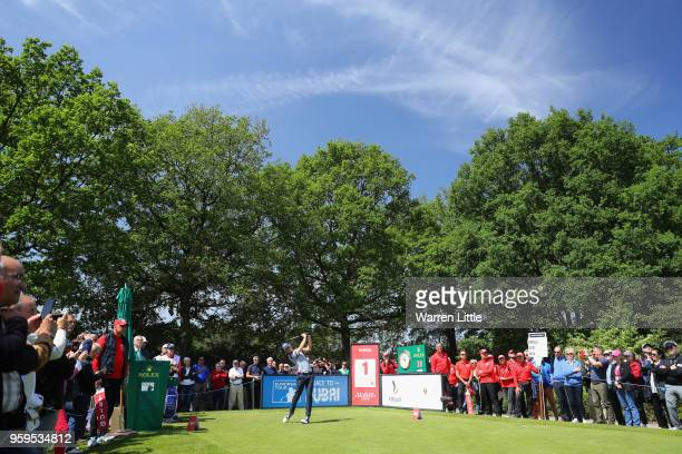 Thomas Pieters of Belgium takes his shot off the 1st tee during the first round of the Belgian Knockout at the Rinkven International Golf Club on May...