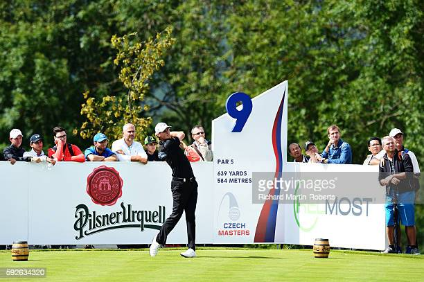 Thomas Pieters of Belgium takes his tee shot on the 9th hole during day four of the DD REAL Czech Masters at Albatross Golf Resort on August 21 2016...