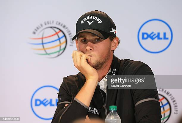 Thomas Pieters of Belgium talks to the media during a press conference before he played his practice round in the 2016 World Golf Championships Dell...