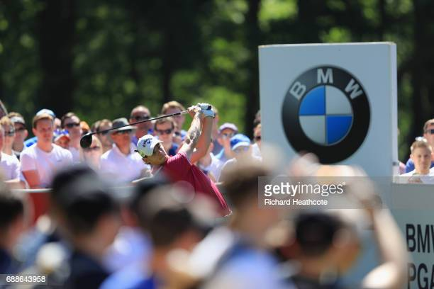 Thomas Pieters of Belgium tees off on the 12th hole during day two of the BMW PGA Championship at Wentworth on May 26 2017 in Virginia Water England