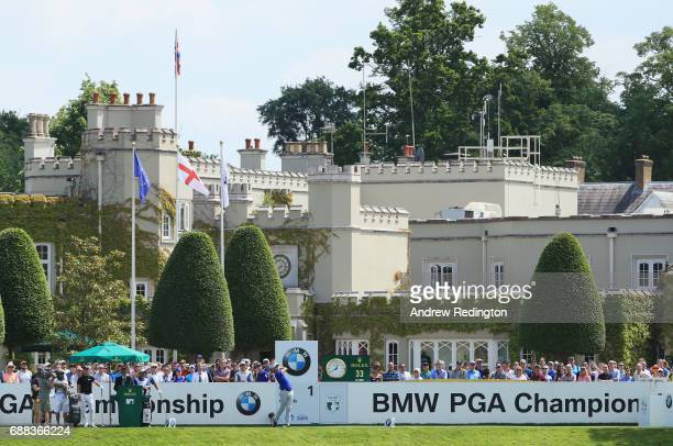 Thomas Pieters of Belgium tees off on the 1st hole during day one of the BMW PGA Championship at Wentworth on May 25 2017 in Virginia Water England