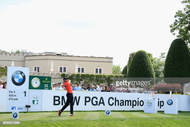 Thomas Pieters of Belgium tees off on the 1st hole during day three of the BMW PGA Championship at Wentworth on May 27 2017 in Virginia Water England