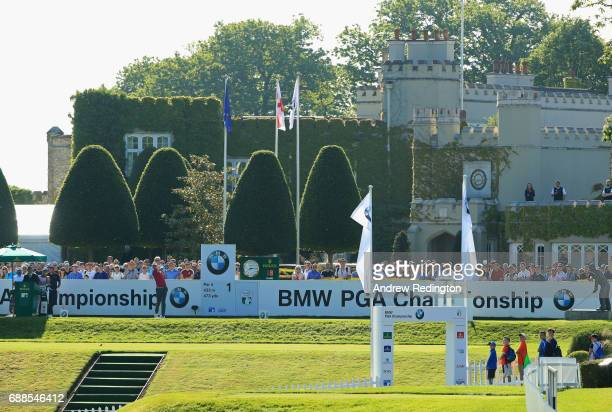 Thomas Pieters of Belgium tees off on the 1st hole during day two of the BMW PGA Championship at Wentworth on May 26 2017 in Virginia Water England