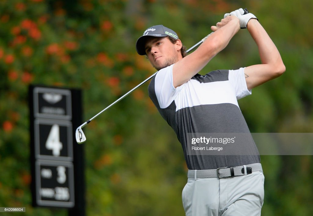 Thomas Pieters of Belgium tees off on the fourth hole during the first round at the Genesis Open at Riviera Country Club on February 16, 2017 in Pacific Palisades, California.